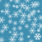 Christmas and New Year's background. White snowflakes on a blue knitted background stock illustration