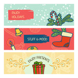 Christmas and New Years banner set. Winter illustration vector illustration