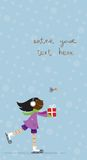 Christmas or New Year's card. Christmas card with cute girl ice-skating and enjoying Christmas Royalty Free Stock Images