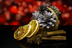 Christmas and New Year`s card. Decorations on a black mirror reflection surface. Royalty Free Stock Photography