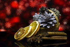 Christmas and New Year`s card. Decorations on a black mirror reflection surface. Royalty Free Stock Image