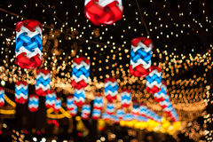 Christmas and New Year's celebrations,  decorated with lights. Christmas and New Year's celebrations,  decorated with lights at night Royalty Free Stock Photography