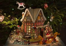 Christmas or new year`s composition with a fairy house royalty free stock photo