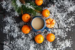 Christmas and New Year`s concept. Mandarins, coffee mug, snow, Christmas tree branch. Against a dark background Royalty Free Stock Image