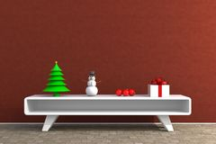 Christmas and New Year`s Day, Christmas gift in livingroom on wood table, White gift box on red wall background with space. 3d rendering royalty free stock images