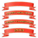 Christmas / New Year's decoration. Set of red and gold ribbons isolated on white - Merry Christmas / Happy New Year / 2013 / Blank Royalty Free Stock Photo