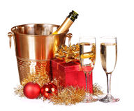 Christmas or New Year's Eve. Champagne and Presents isolated Royalty Free Stock Photography