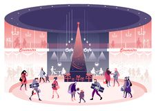 Christmas and New Year`s Eve. New Year`s Eve and Christmas Eve city downtown shopping. Festive bustle in the City Mall vector illustration