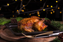 Christmas and new year's eve dinner: roasted whole chicken / turkey Royalty Free Stock Photos