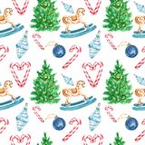 Christmas and New Year`s festive seamless pattern on white background with symbols of winter holidays stock illustration