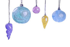 Christmas New Year`s flickering glass spheres balls. Christmas t. Ree toy. Handmade watercolor painting illustration on a white rough surface paper Royalty Free Stock Images