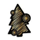 Christmas or New Year`s fur-tree black and gold Royalty Free Stock Photos