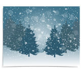 Christmas, New Year s gift card. The stylized image of blue spruce trees on a winter day. Snow in winter forest. Snowflakes. Vector illustration Stock Photography