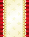 Christmas & New-Year's greeting card. Red and gold background with lace, illustration Royalty Free Stock Image