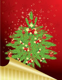 Christmas & New-Year's greeting card. Christmas tree decorated with red bows and balls on red background, illustration Stock Photos