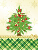 Christmas & New-Year's greeting card. Christmas tree decorated with red balls and bows on golden background, , illustration Royalty Free Stock Photography