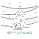 Christmas or New Year's greeting card with the image of a Christmas tree. Royalty Free Stock Photo