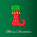 Christmas or New Year s greeting card on traditional green and red colors. sock elf boots in cartoon style. Vector logo, emblem de Royalty Free Stock Image