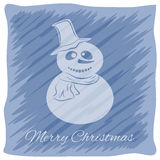 Christmas or New Year`s greeting card. Vector logo, emblem design. Bright blue stripes painted carelessly. Transparent silhouette. Of a snowman in a hat and Royalty Free Stock Photography