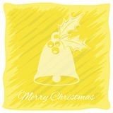 Christmas or New Year`s greeting card. Vector logo, emblem design. Bright yellow stripes painted carelessly. Transparent silhouett Royalty Free Stock Image