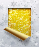 Christmas & New-Year`s Greeting Card With Gold Foil Background Stock Photos