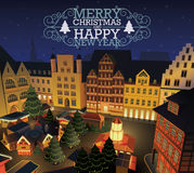 Christmas and New Year's market. In old town square stock illustration