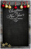 Christmas and New Year`s Restaurant Menu Wooden Blackboard Copy Stock Photo