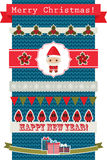 Christmas and New Year's ribbons and banners. Over knitted background. Eps 10 Stock Images