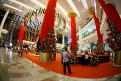Christmas  New Year's sale in a big mall. Kuala Lumpur, Malaysia - December 15, 2014: Christmas, New Year's sale in a big mall Stock Photography
