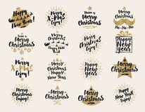 Christmas and New Year`s signs set black gold color on white background for gift tags. Emblem, christmas sale, greeting cards, product promotion, web design Royalty Free Stock Photo