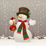 Christmas & New-Year's snowman Stock Image