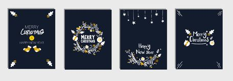Christmas and New Year`s Template Card Set Bundle, Dark Blue Navy Background Vector. Design Royalty Free Stock Photo