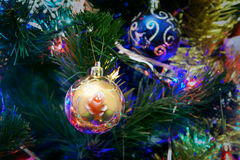 Christmas New Year's toys on a blurred background of Christmas t Royalty Free Stock Photo