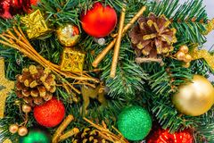 Christmas, New Year`s wreath of fir branches and berries, New Year`s holiday decorations. stock photography