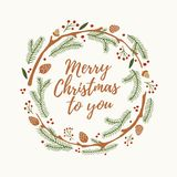 Christmas and New year`s wreath out of branches of spruce, bumps and red berries with words merry Christmas to you on light backgr. Ound. Vector illustration Royalty Free Stock Photos