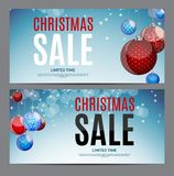 Christmas and New Year Sale Gift Voucher, Discount Coupon Template Vector Illustration Stock Image