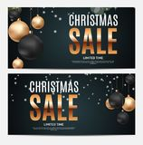 Christmas and New Year Sale Gift Voucher, Discount Coupon Template Vector Illustration Stock Photos