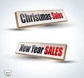 Christmas and New Year sales 3D Panels. With delicate Shadows and glossy reflection. Ready to copy and past on every surface Royalty Free Stock Photos