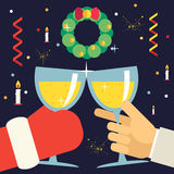 Christmas New Year with Santa Claus Celebration. Christmas New Year  with Santa Claus Celebration Success and Prosperity Symbol Hands Holds a Glasses with Drink Stock Images