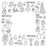 Christmas New year Santa Claus Doodle vector icons Presents Birds Christmas tree Candy Christmas bell Snowflake Coloring Stock Image