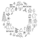 Christmas New year Santa Claus Doodle vector icons Presents Birds Christmas tree Candy Christmas bell Snowflake Coloring Royalty Free Stock Photography