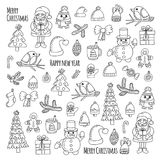 Christmas New year Santa Claus Doodle vector icons Presents Birds Christmas tree Candy Christmas bell Snowflake Coloring Stock Photo
