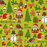 Christmas New year Santa Claus Doodle vector icons Presents Birds Christmas tree Candy Christmas bell Snowflake Stock Image