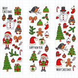 Christmas New year Santa Claus Doodle vector icons Presents Birds Christmas tree Candy Christmas bell Snowflake Stock Photo