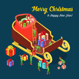 Christmas New Year Santa Sledges gift flat isometric vector 3d Royalty Free Stock Photos