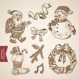 Christmas New Year Santa sock handdrawn vintage retro vector. Ho Ho Ho Santa Claus snowman wreath sock Christmas New Year handdrawn engraving style template Stock Image