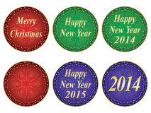 Christmas and New Year seals. Set of Merry Christmas and Happy New Year seals Stock Photo