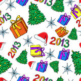 Christmas and New Year seamless. Pattern Vector Illustration
