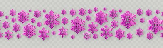 Christmas and New Year seamless border with paper snowflakes. EPS 10 royalty free illustration