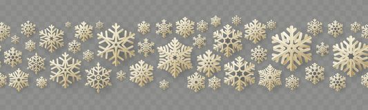 Christmas and New Year seamless border with vintage paper snowflakes. EPS 10 stock illustration